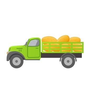 ジャガイモを収穫するレトロなトラック。