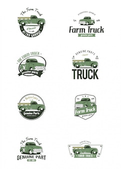 Retro truck logo template. farm truck logo