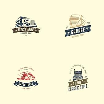 レトロなトラックのロゴのテンプレート