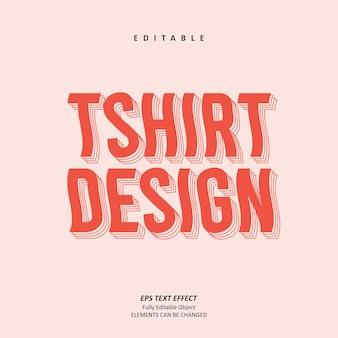Retro tshirt design personalized wave text effect editable premium premium vector