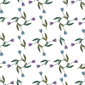 Retro tulip flower seamless pattern isolated on white background. decorative floral ornament wallpaper. botanical design. for fabric design, textile print, wrapping, cover. vintage vector illustration