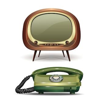 Ретро телевизор и старинный телефон с набором номера. набор реалистичных