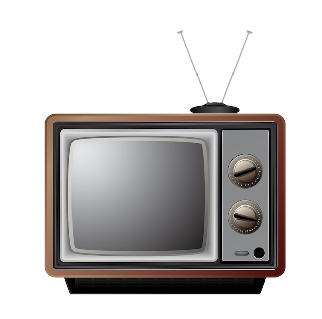 Ретро телевизор значок на белом