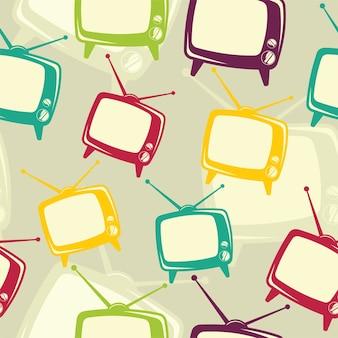 Retro tv icon pattern