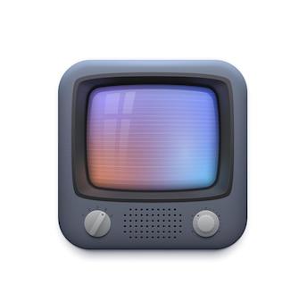 레트로 tv 인터페이스 아이콘, 오래된 텔레비전 화면 또는 빈티지 비디오 플레이어 앱, 벡터. 비디오 플레이어 또는 스트리밍 튜브 및 영화 미디어 또는 vlog 채널 버튼용 레트로 빈티지 tv 화면 응용 프로그램 아이콘