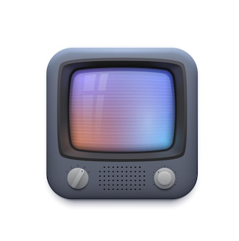 Retro tv interface icon, old television screen or vintage video player app, vector. retro vintage tv screen application icon for video player or streaming tube and movie media or vlog channel button