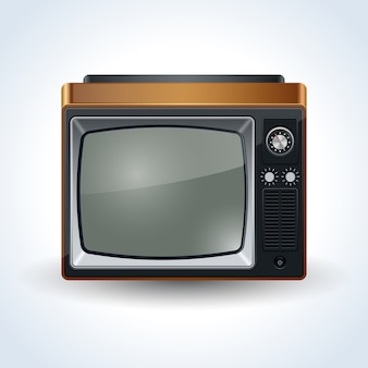 Retro tv set realistic vector illustration on white background