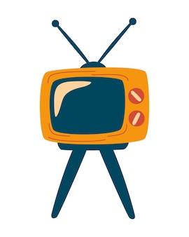 Ретро тв. дизайн иконок телевидения. старое развлекательное телевидение. телевизор на четырех ножках. дизайн, интернет, графика, печать. векторные иллюстрации шаржа.