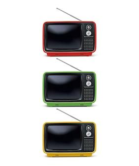 レトロなテレビ、白で隔離のビンテージテレビセット。リアルなイラスト