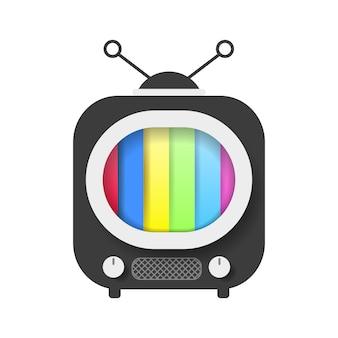 Ретро телевизор с цветным экраном векторные иллюстрации на белом фоне