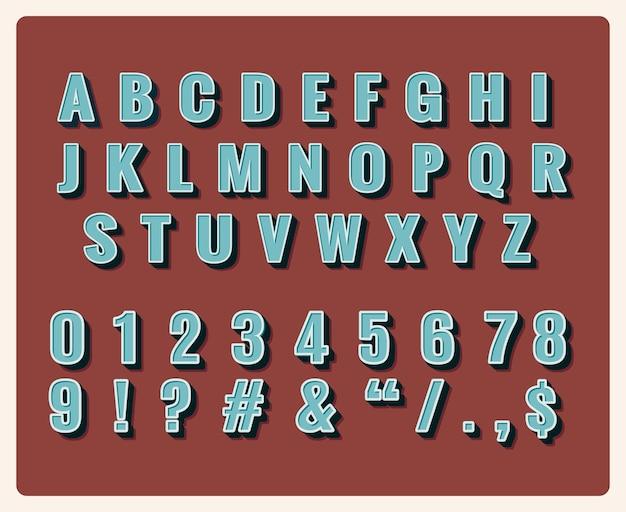 레트로 유형 글꼴. 기호 빈티지, 타이포그래피, 숫자 및 문자