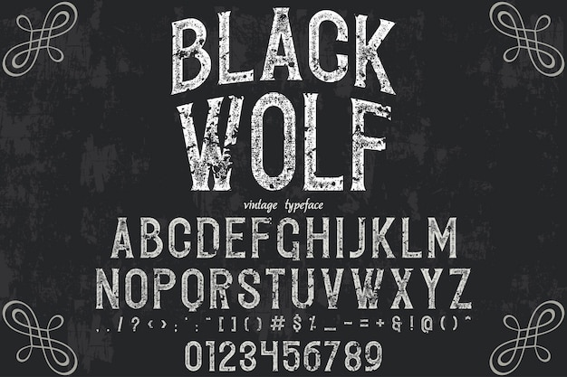 Retro typeface design black wolf