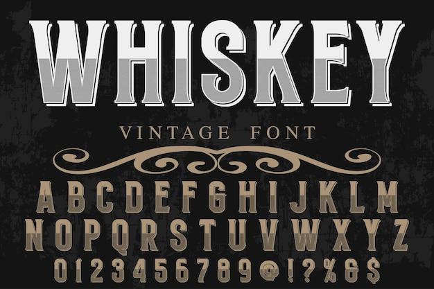 Retro typeface label design whiskey