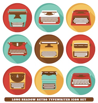 Retro typewriter icons