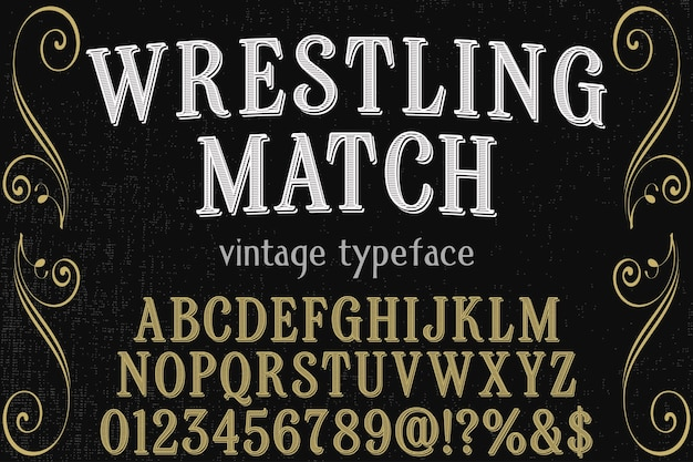 Retro typography font design wrestling match