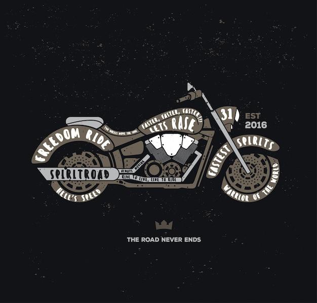 Retro typography motorbike logo
