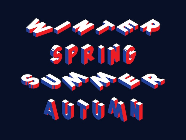 Retro typography with words winter, spring, summer and autumn in geometric 3d shape style with blue and red colors