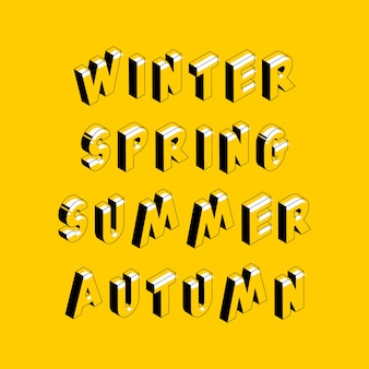 Retro typography with words: winter, spring, summer and autumn in geometric 3d shape style