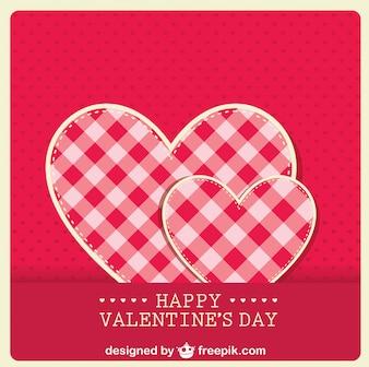 Retro valentine's card fabric hear design