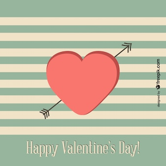 Retro Valentine's Day card with green stripes