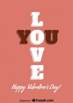 Retro valentine's day typography card design
