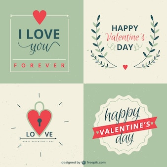 Retro valentines day labels pack