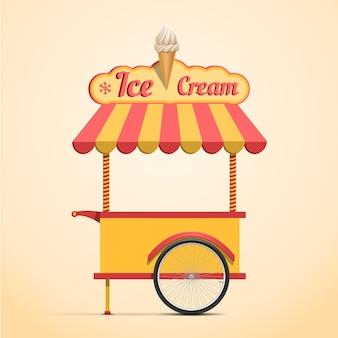 Retro vector ice cream cart on beige background