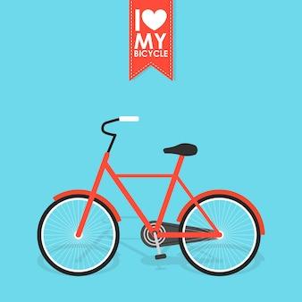 影とレトロなベクトルイラスト自転車