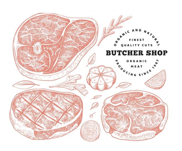 レトロなベクトル肉のイラスト。手描きステーキセット、スパイス、ハーブ。生の食材。ビンテージスケッチ
