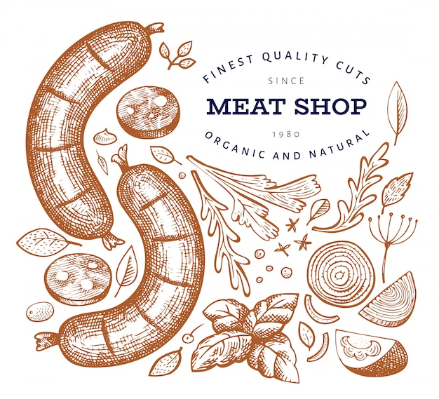 Retro vector meat illustration