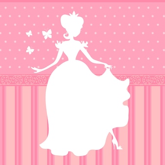 Retro vector pink background with little beautiful princess silhouette