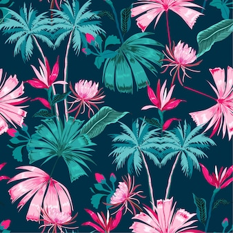 Retro vector seamless beautiful tropical pattern