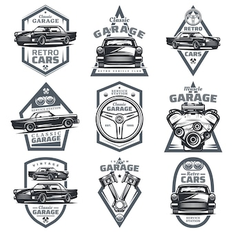 Retro vehicle club emblems set with classic automobiles steering wheel motor engine pistons in vintage style isolated