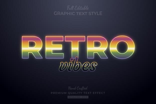 Retro vibes gradient editable premium text effect font style