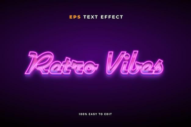 Retro vibes neon light  text effect