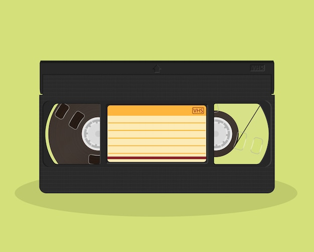 Retro video cassette  . old record video recorder tape. vintage style movie storage icon.