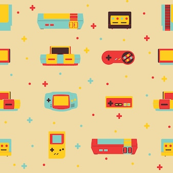 Retro video game consoles background seamless pattern