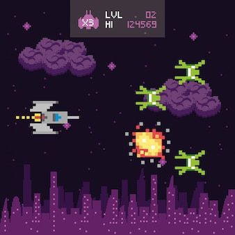 레트로 비디오 게임 공간 pixelated 장면
