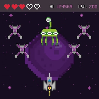 Retro video game space pixelated scene