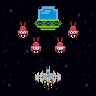 レトロなビデオゲーム空間のピクセル化されたシーン