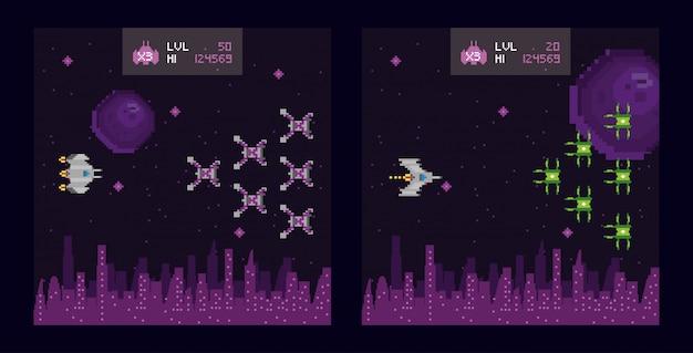 Retro video game space pixelated scenes