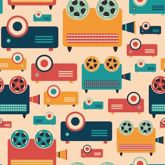 Retro video projectors seamless pattern.