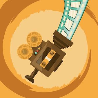 Ретро видеокамеры и значок ленты фильма на желтом фоне