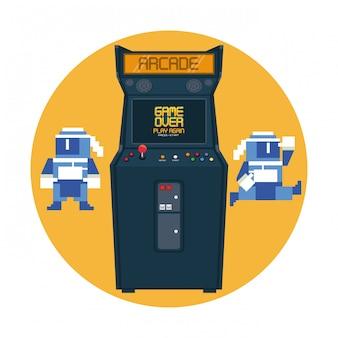 Retro videogame  arcade machine round frame