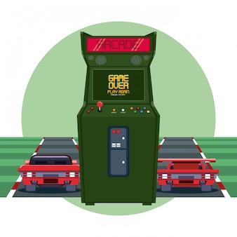 Retro videogame  arcade racing round frame