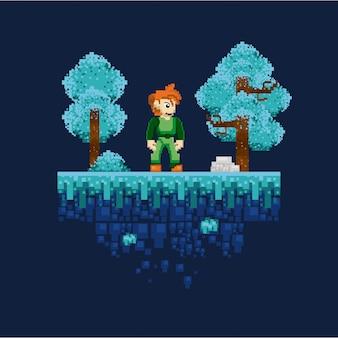 Retro videogame pixelated scenery