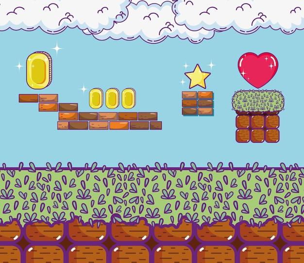 Концепция мультфильмов в стиле ретро-видеоигр