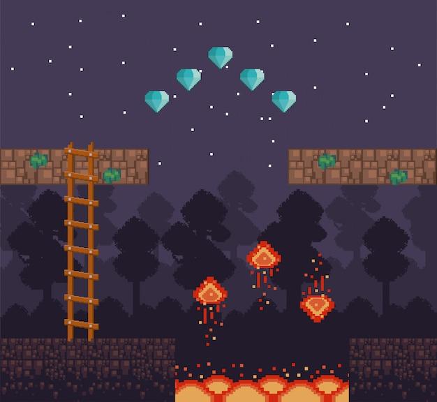 Retro videogame scenery with terrain pixelated