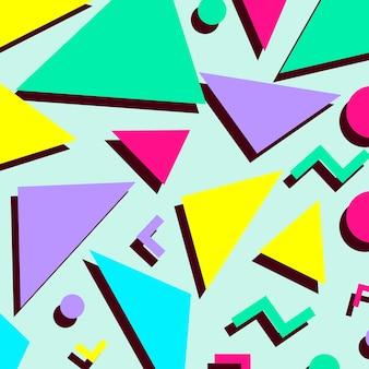 レトロなヴィンテージ80年代または90年代のファッションスタイルの抽象的なパターンの背景。テキスタイルファブリックのデザイン、包装紙、ウェブサイトの壁紙に適しています。ベクトルイラスト。