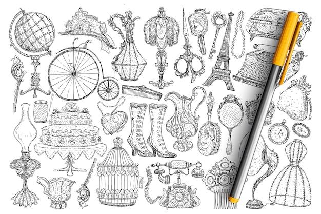 Набор ретро винтаж аксессуары каракули. коллекция рисованной старинных ламп, аксессуаров, украшений, обуви, одежды, телефона, зеркал, ножниц, граммофона, колеса изолированы